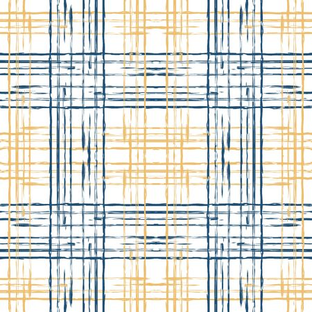 Beige and Blue Stripe Paint Vector Seamless Pattern. Scottish Grid Wallpaper. Cross Structure Pattern. Blue Plaid Decoration Background.