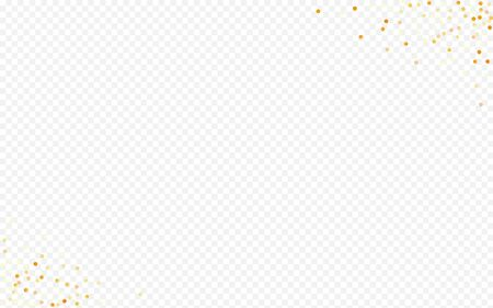 Golden Polka Isolated Transparent Background. Anniversary Sparkle Texture. Gold Glow Shiny Banner. Circle Vector Invitation. Stock Illustratie