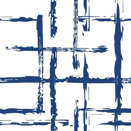 Blue Geometric Line Vector Seamless Pattern. Watercolor Stripe Pattern. Indigo Stripe Stroke Wallpaper. Line Brush Texture.