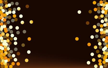 Golden Dot Christmas Brown Dark Background. Holiday Confetti Pattern. Yellow Sequin Luxury Backdrop. Shine Paper Card. Stock Illustratie