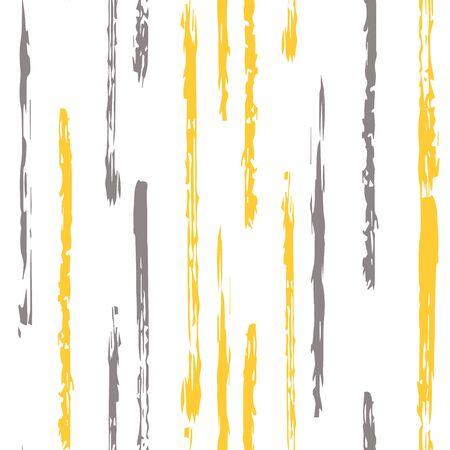 Grey Retro Stripe Vector Seamless Pattern. Grunge Line Design. Beige Stripe Drawn Background. Line Fabric Print.