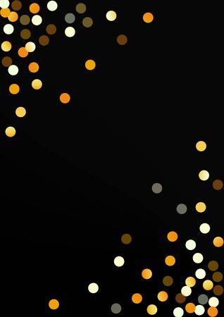 Yellow Dust Light Black Background. Happy Confetti Design. Golden Sparkle Golden Card. Polka Festive Wallpaper. Stockfoto - 147729518
