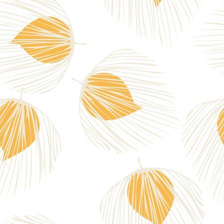 White Leaf Tree Vector Seamless Pattern. Plant Hawaii Texture. Nature Flower Backdrop. Orange Exotic Foliage Illustration.
