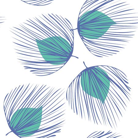 Turquoise Floral Jungle Vector Seamless Pattern. Flower Spring Background. Summer Foliage Backdrop. Blue Vintage Leaf Texture.