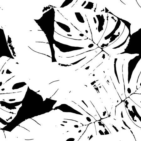 Monochrome Leaf Textile Vector Seamless Pattern. Foliage Exotic Texture. Fashion Flower Backdrop. Black Hawaii Plant Pattern.