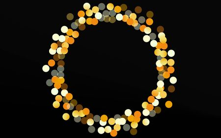 Yellow Rain Effect Black Background. Vector Round Background. Gold Dot Bright Texture. Circle Paper Pattern.