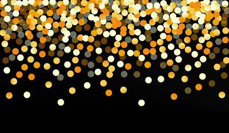 Gold Round Happy Black Background. Falling Circle Invitation. Yellow Shine Christmas Pattern. Dot Anniversary Illustration. Stock Illustratie