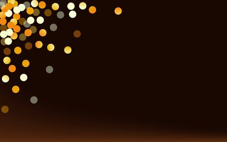 Gold Polka Luxury Brown Dark Background. Art Dust Illustration. Yellow Splash Anniversary Card. Rain Paper Pattern. Stock Illustratie