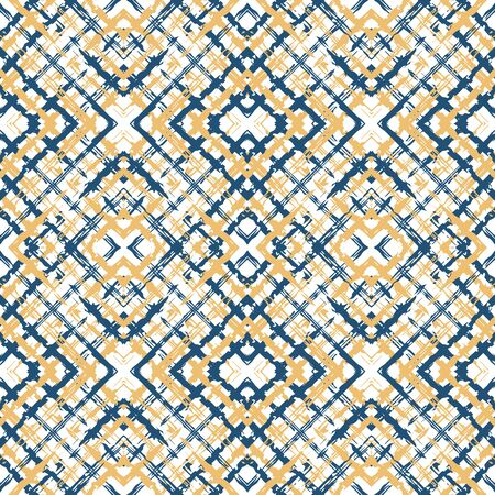 Blue Stripe Repeat Vector Seamless Pattern. Simple Cage Wallpaper. Shirt Decoration Pattern. Beige and Blue Cell Hand Illustration.