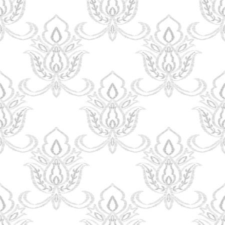 Indigo Rug Decorative Vector Seamless Pattern. India Flower Background. Oriental Illustration. Blue Ikat Vintage Design.