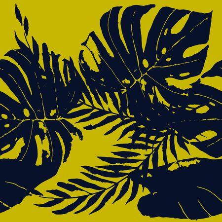Blue Flower Hawaii Vector Seamless Pattern. Plant Fashion Illustration. Summer Banana Leaves Wallpaper. Indigo Fabric Floral Pattern.