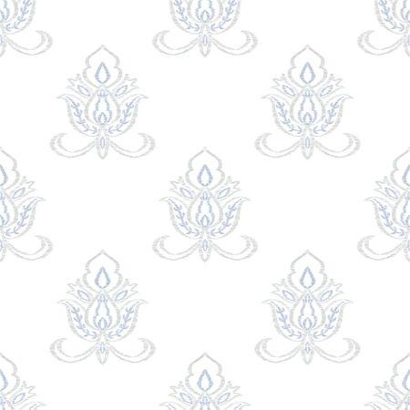 Blue Rug Indian Vector Seamless Pattern. Arabesque Ikat Backdrop. Turkish Wallpaper. Indigo Flower Vintage Background. Stock Illustratie