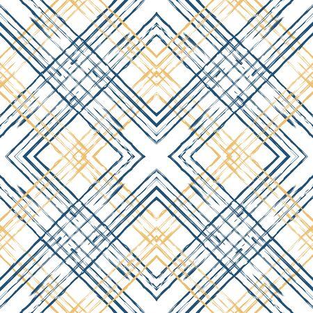 Beige and Blue Check Textile Vector Seamless Pattern. Structure Square Design. Tartan Decoration Wallpaper. Blue Grid Fashion Illustration.