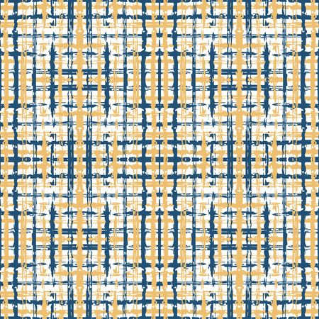 Beige and Blue Plaid Fall Vector Seamless Pattern. Handwrite Linear Backdrop. Cage Simple Pattern. Blue Square Geometric Background. Stockfoto - 147885760