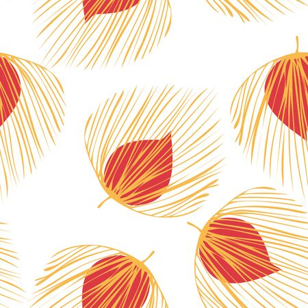 Orange Floral Abstract Vector Seamless Pattern. Palm Tree Design. Jungle Foliage Illustration. Red Spring Plant Texture.