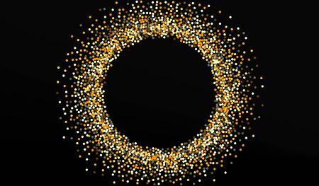Golden Dot Art Black Background. Bright Sequin Invitation. Gold Splash Shiny Design. Circle Effect Illustration. Stock Illustratie