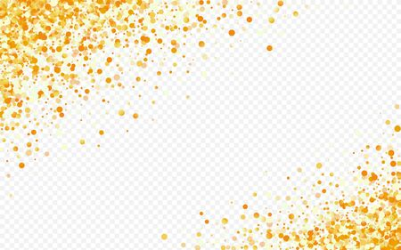 Golden Round Festive Transparent Background. Transparent Splash Card. Gold Dot Vector Texture. Shine Christmas Postcard.