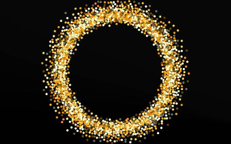 Yellow Splash Christmas Black Background. Happy Confetti Background. Gold Dot Vector Postcard. Circle Golden Invitation. Stockfoto - 147588913