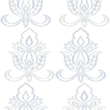 Indigo Rug Flourish Vector Seamless Pattern. Persian Ikat Background. Damask Design. Blue Ornament Islamic Pattern. Stockfoto - 147885765