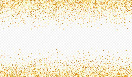 Golden Glow Shiny Transparent Background. Abstract Dot Backdrop. Yellow Sequin Light Invitation. Circle Bright Postcard. Stock Illustratie