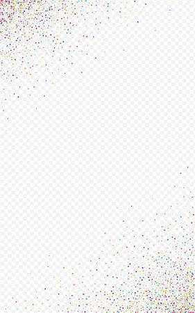 Multicolored Confetti Effect Transparent Background. Magic Festival Rain Pattern. Flying Design. Holographic Celebration Postcard.