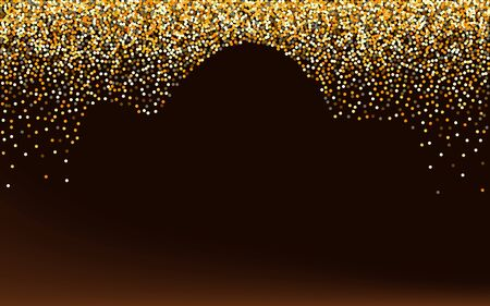 Gold Dust Christmas Brown Dark Background. Holiday Confetti Backdrop. Golden Sparkle Happy Background. Glow Art Pattern.