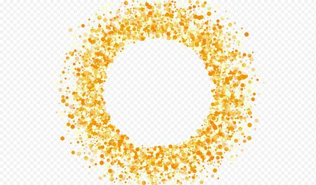 Gold Rain Art Transparent Background. Abstract Sequin Backdrop. Golden Glow Festive Wallpaper. Circle Light Postcard. Stockfoto - 147588908