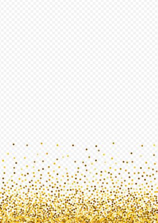 Gold Sequin Light Transparent Background. Bridal Confetti Postcard. Yellow Circle Abstract Background. Glow Falling Wallpaper.
