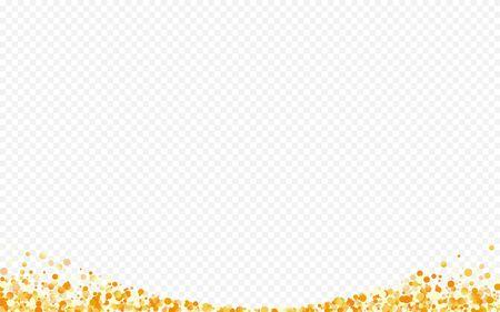 Yellow Polka Festive Transparent Background. Happy Shine Design. Gold Rain Bridal Texture. Dust Transparent Backdrop.