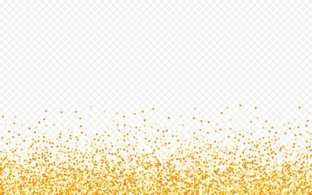 Golden Glow Isolated Transparent Background. Effect Dot Background. Gold Shine Glamour Backdrop. Dust Anniversary Card. Stockfoto - 147885812