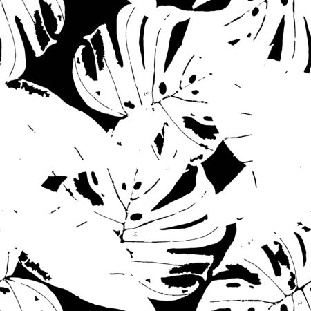 Black and White Banana Leaves Spring Vector Seamless Pattern. Foliage Abstract Background. Hawaii Monstera Leaves Pattern. Monochrome Fashion Flower Wallpaper.