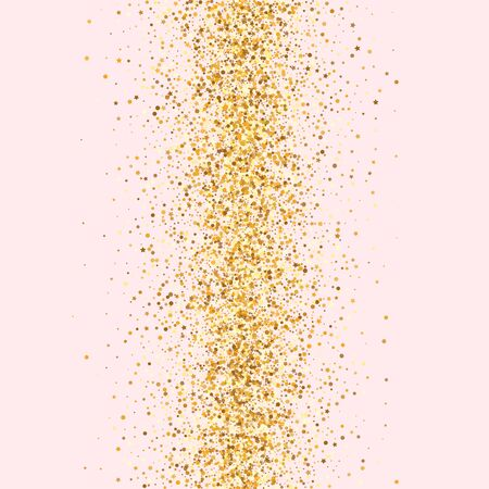 Gold Dust Happy Pink Background. Paper Rain Postcard. Yellow Sparkle Effect Design. Splash Vector Backdrop.
