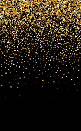 Yellow Polka Transparent Black Background. Art Sparkle Texture. Golden Dot Anniversary Design. Sequin Falling Background.