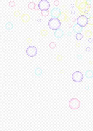 Farbiger runder Bereich realistischer transparenter Hintergrund. Wasser-Seifenblase-Postkarte. Rainbow Air Soapy Ball Hintergrund.