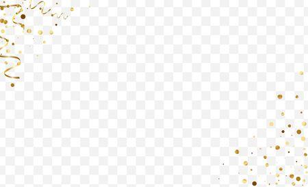 Golden Modern Circle Frame. Celebration Dot Design. Gradient Glitter Metallic Card. Vector Confetti Pattern. Yellow Luxury Illustration. Ilustración de vector