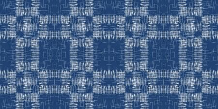 Sky Linear Modern Vector Seamless Pattern. Water Vintage Plaid Backdrop. Fabric Grid Background. Blue Line Flannel Wallpaper.