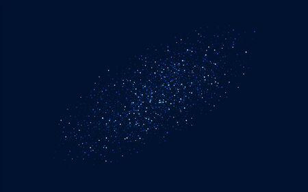 White Glamour Vector Starry Wallpaper. Dark Decoration Shine Background. Sparkle Digital Banner. Blue Shiny Confetti Illustration.