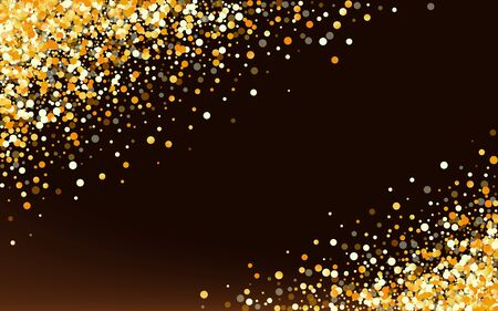 Yellow Glow Rich Brown Dark Background. Art Dot Design. Golden Circle Glamour Texture. Splash Happy Pattern. Stock Illustratie