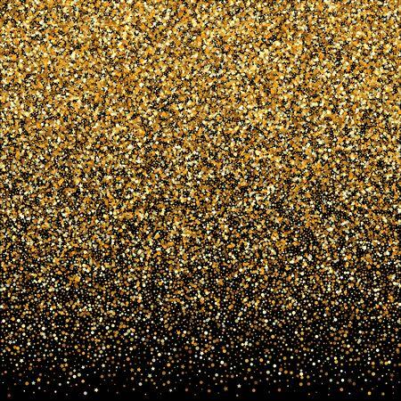 Gold Sparkle Festive Black Background. Effect Round Design. Golden Sequin Holiday Pattern. Polka Luxury Invitation. Stock Illustratie