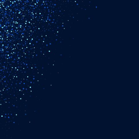 Dark Elegant Vector Shine Pattern. Blue Magic Universe Background. Starry Digital Border. Silver Light Glitter Illustration. Stock Illustratie