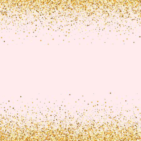 Gold Dot Effect Pink Background. Modern Shine Illustration. Yellow Circle Bright Backdrop. Confetti Bridal Invitation.