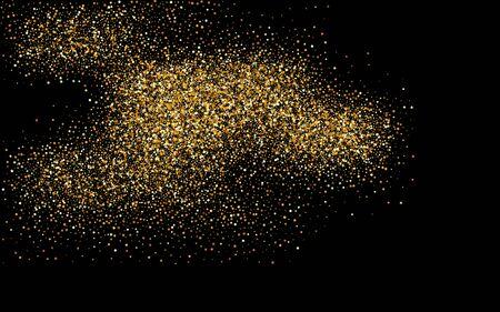 Golden Sequin Shiny Black Background. Vector Glow Postcard. Gold Dot Anniversary Wallpaper. Rain Bright Design.