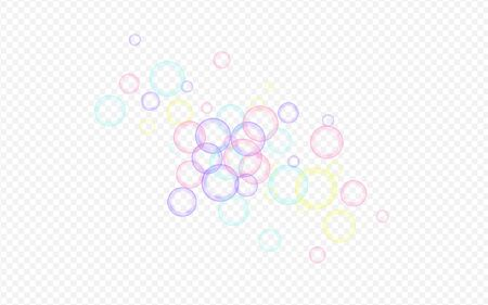 Rainbow Soapy Ball Abstract Transparent Background. Realistic Foam Background. Colored Liquid Soap Bubble Card. Stock Illustratie