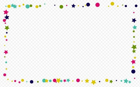 Yellow Confetti Top Transparent Background. Carnival Round Texture. FallingFestive Polka Banner. Green Dust Celebration Pattern.
