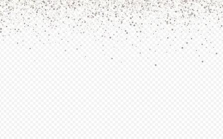 White Shine Falling Transparent Background. Light Glow Banner. Silver Splash Anniversary Postcard. Dot Effect Backdrop.