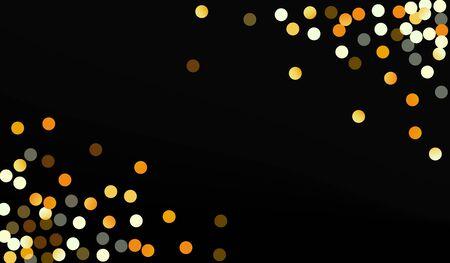 Gold Sequin Vector Black Background. Festive Dot Wallpaper. Golden Sparkle Paper Backdrop. Shine Bridal Background.