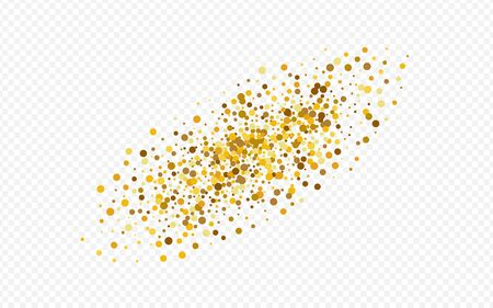 Gold Sequin Light Transparent Background. Anniversary Circle Backdrop. Golden Splash Shiny Pattern. Sparkle Paper Background. Stock Illustratie