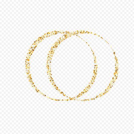 Golden Confetti Art Transparent Background. Bridal Circle Background. Yellow Splash Effect Banner. Dot Abstract Backdrop.