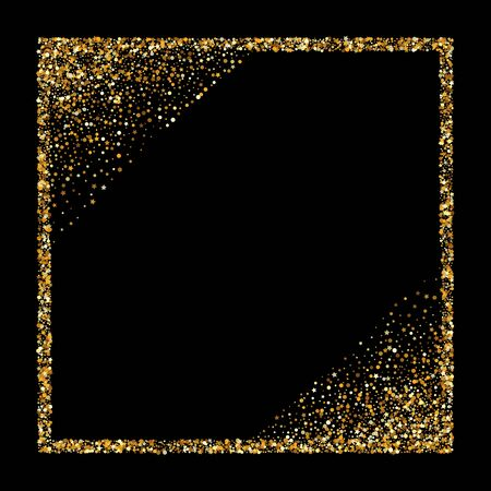 Gold Dust Shiny Black Background. Light Circle Backdrop. Golden Sparkle Happy Background. Polka Vector Pattern.