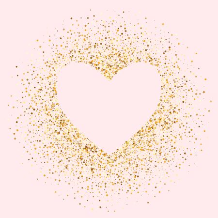 Golden Dust Light Pink Background. Bright Sparkle Backdrop. Gold Shine Glamour Texture. Glow Bridal Pattern.
